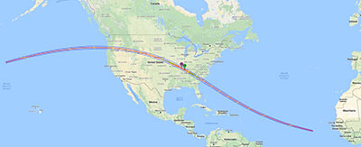 This interactive Google map shows the path of the Total Solar Eclipse of 2017 Aug 21.