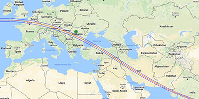 Path of The Millennial Eclipse of August 11, 1999, across Europe and Asia