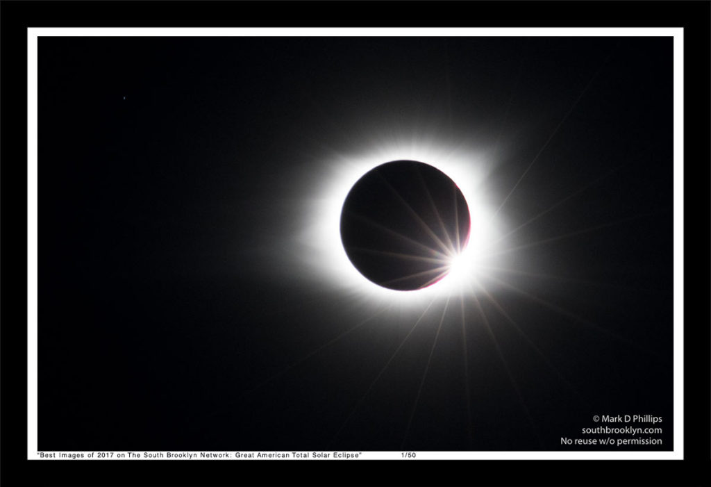 Great American Total Solar Eclipse of August 21, 2017, photographed in Murphy, NC, with diamond ring and corona with Jupiter at the left, ©Mark D Phillips